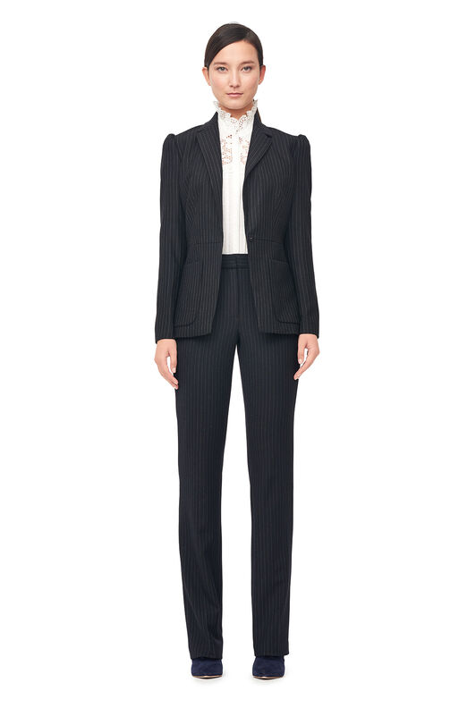 Pinstripe Suiting Blazer - Navy Combo
