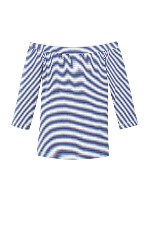 La Vie Off-The-Shoulder Striped Ribbed Jersey Top