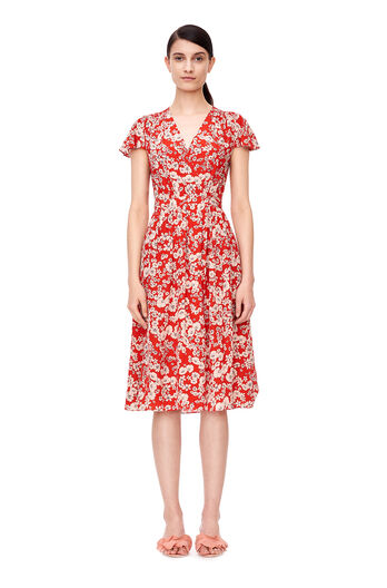 Short Sleeve Cherry Blossom Dress - Candy Apple Combo