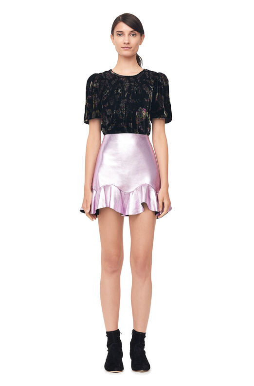 Metallic Leather Skirt - Rose
