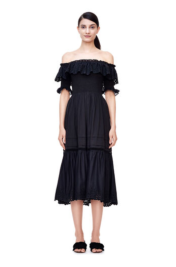 Off-The-Shoulder Nouveau Eyelet Dress - Black