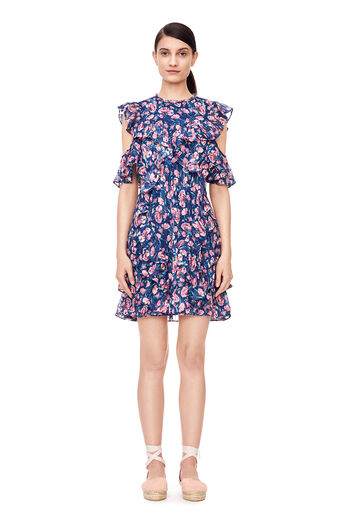 Open-Shoulder Tea Rose Dress - Royal Combo