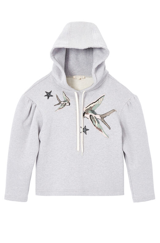 Bird Embroidered Fleece Hoodie