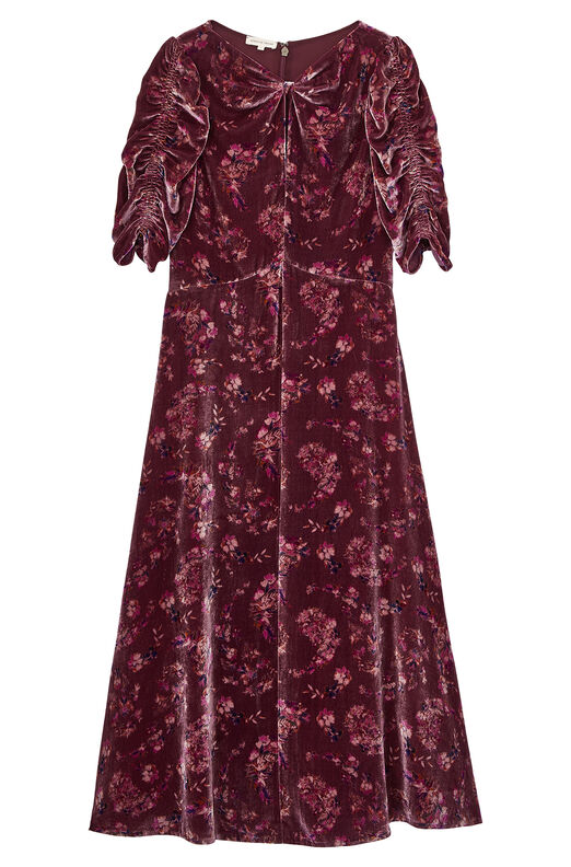 Jewel Paisley Velvet Midi Dress
