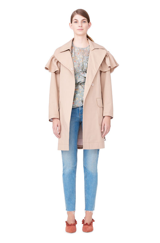 Cotton Faille Ruffle Trench - Dune