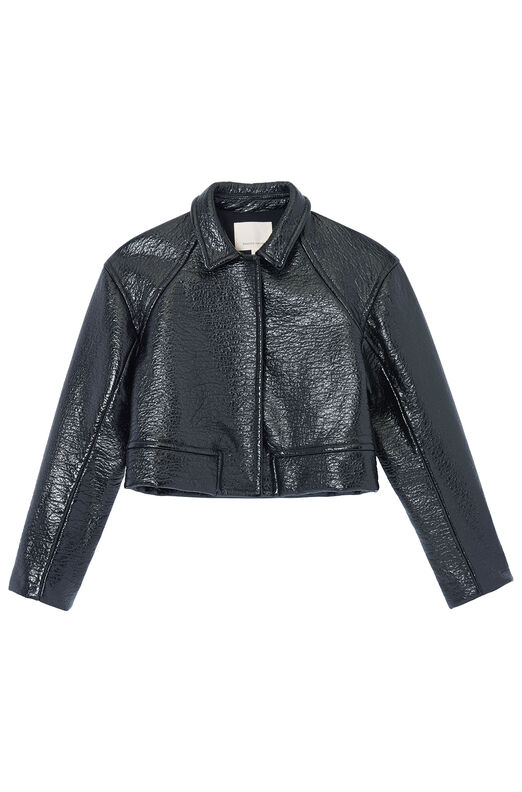 Textured Vegan Leather Jacket