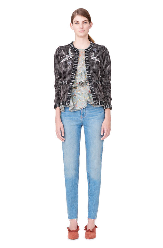 Multi Tweed Bird Embellished Jacket