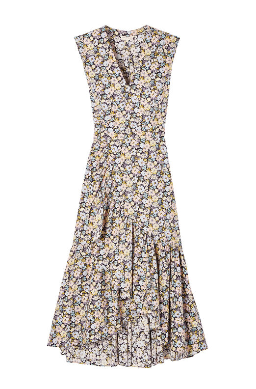 Sleeveless Moonlight Garden Poplin Wrap Dress