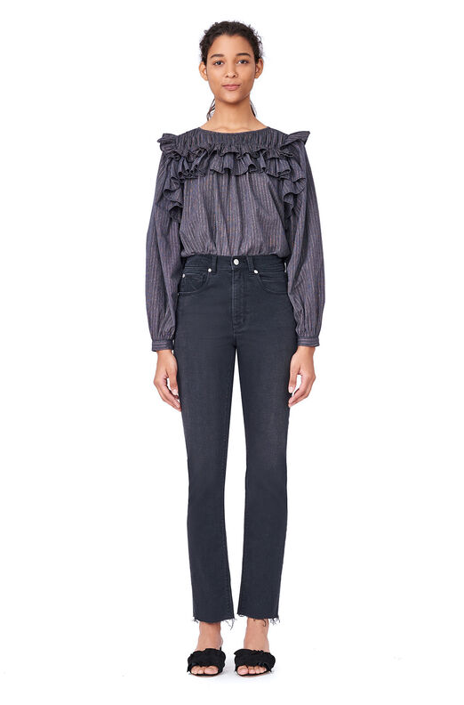 La Vie Lurex Gauze Ruffle Top - Washed Black Combo