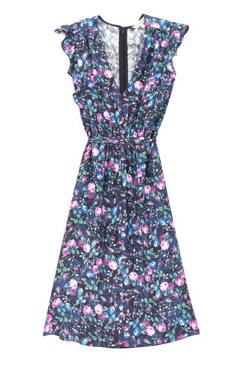 Ruby Floral Hammered Silk Dress
