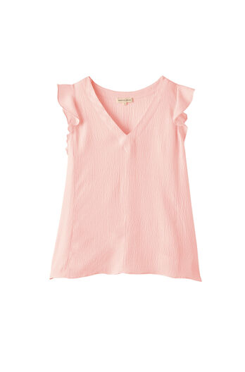 Silk Ruffle V-Neck Top