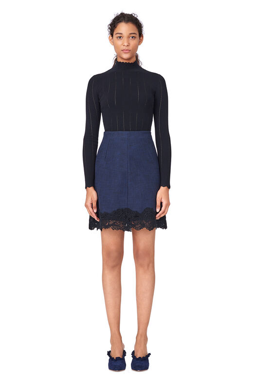 Slub Suiting Skirt with Lace - Dark Navy/Black