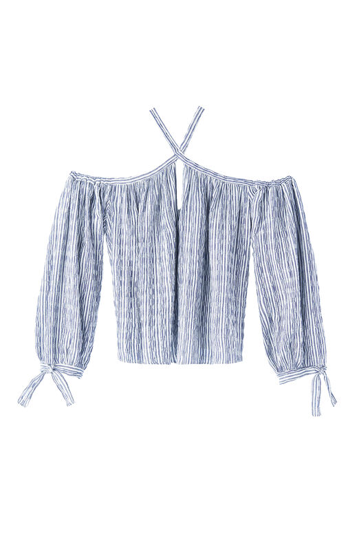 Open Shoulder Yarn-Dyed Striped Top