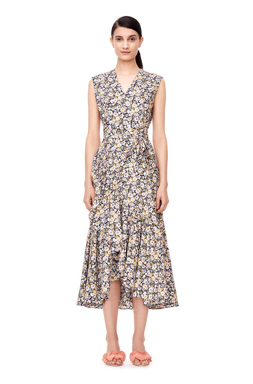 Sleeveless Moonlight Garden Poplin Wrap Dress - Sky Blue/Navy