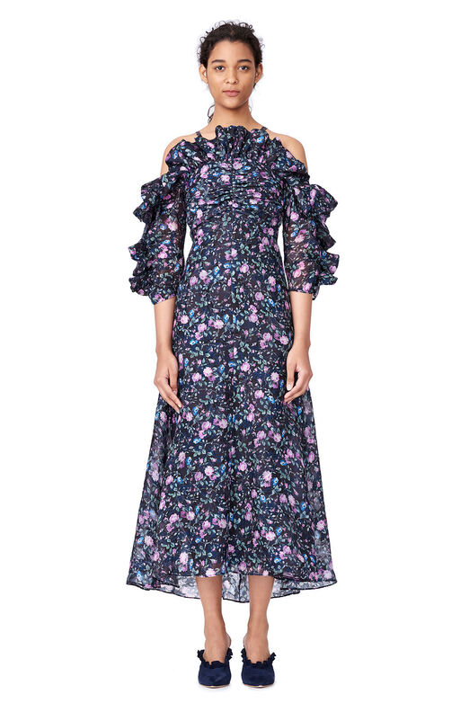 Open-Shoulder Ruby Floral Organza Dress - Dark Navy Combo