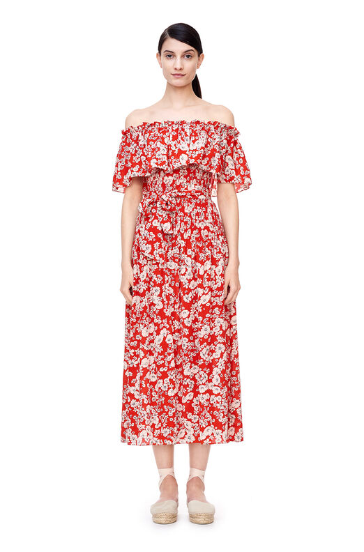 Off-The-Shoulder Cherry Blossom Dress - Candy Apple Combo