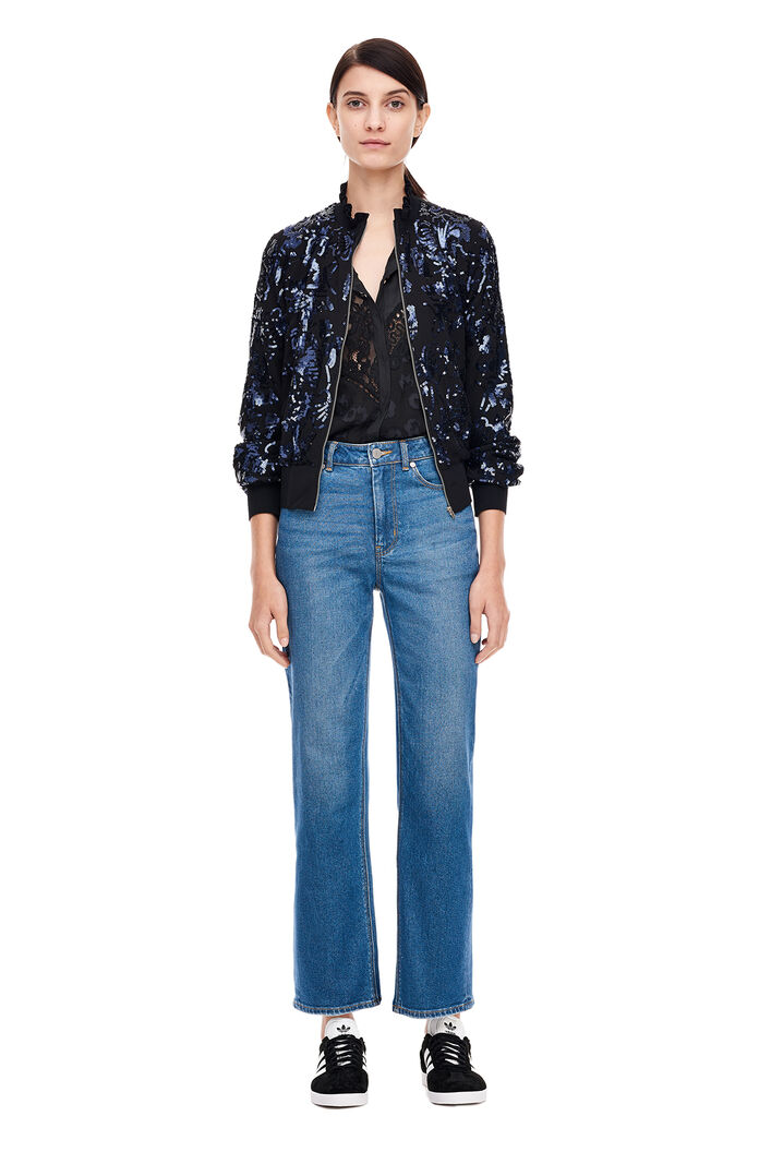 Sequin Bomber Jacket - Black/Navy