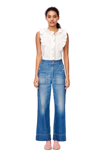 La Vie Washed Poplin Top - Milk