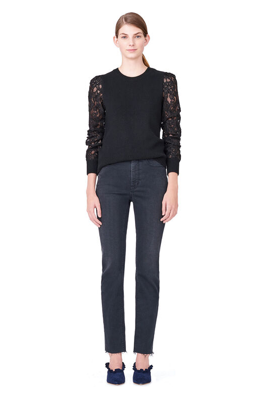 Lace Sleeve Pullover - Black/Black