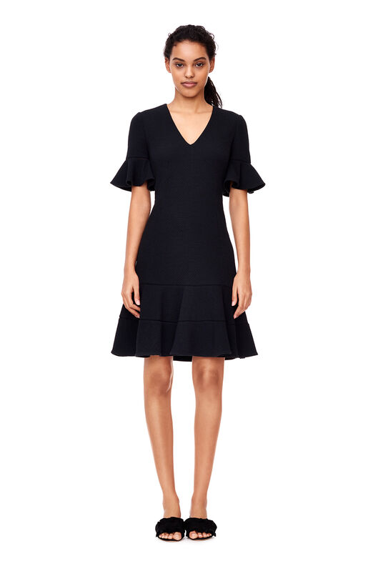 Stretch Textured V-Neck Dress - Black