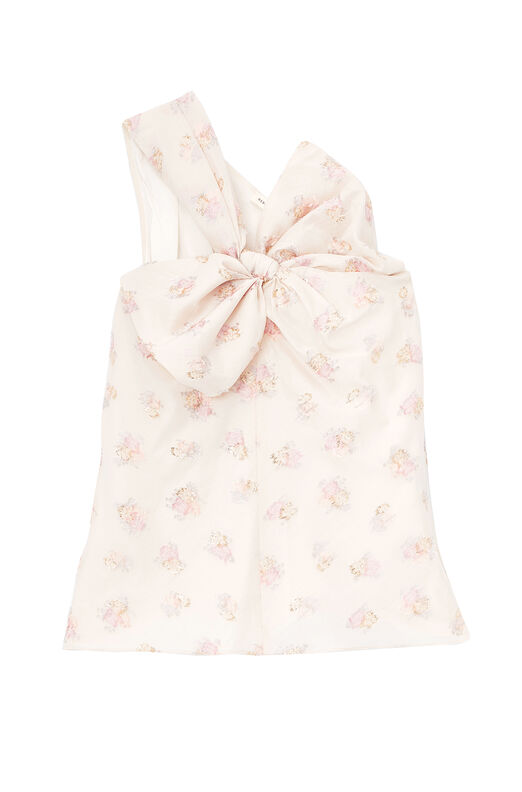 Floral Jacquard Bow Top