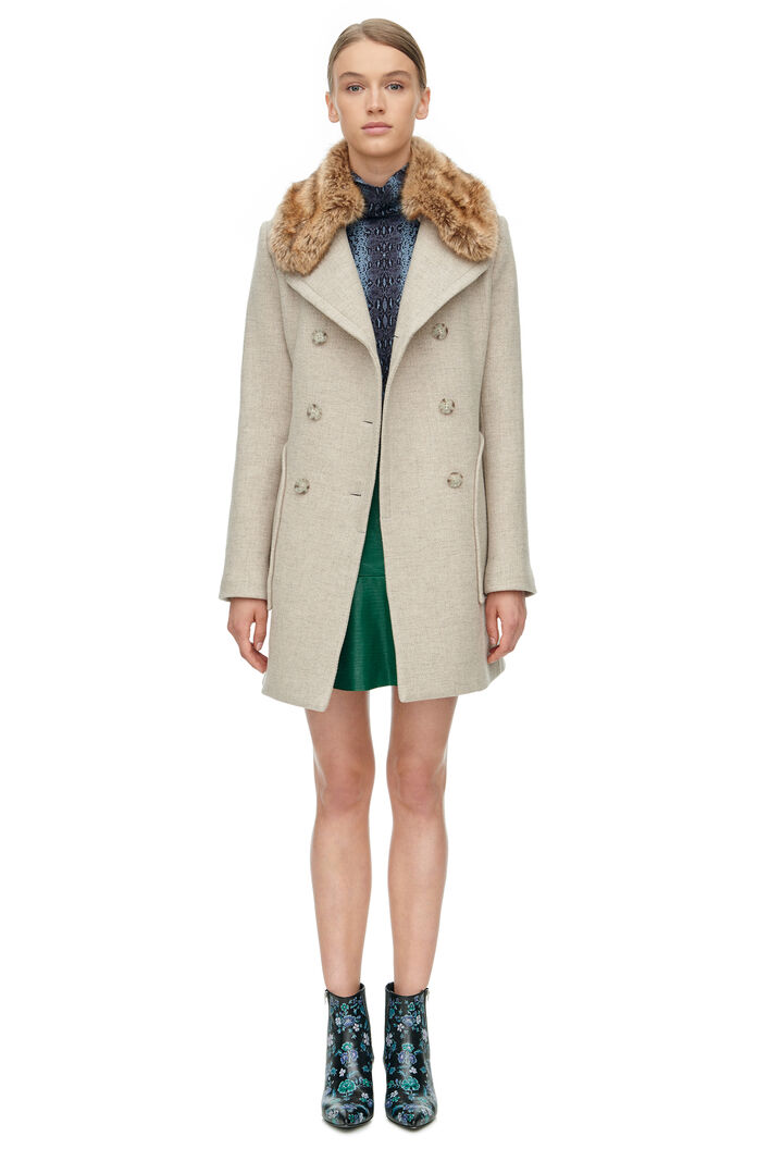Wool Coat with Fur - Champagne