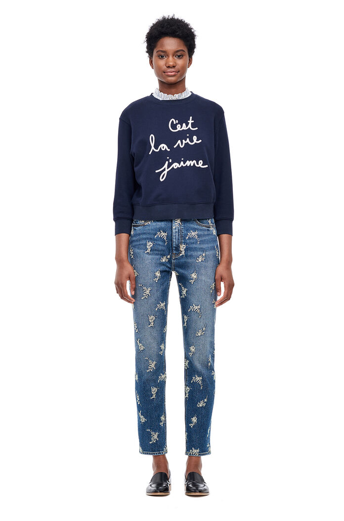 La Vie Embroidered Sweatshirt - Navy