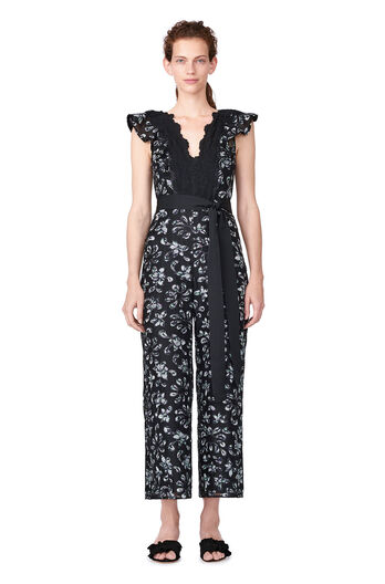 Moonflower Embroidered Jumpsuit - Black Combo