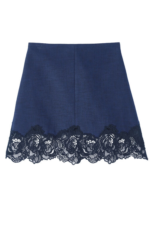 Slub Suiting Skirt with Lace
