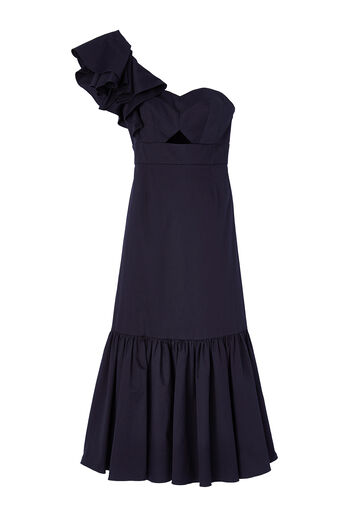 One-Shoulder Cotton Ruffle Dress