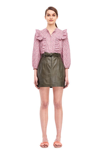 Tumbled Leather Skirt - Olive