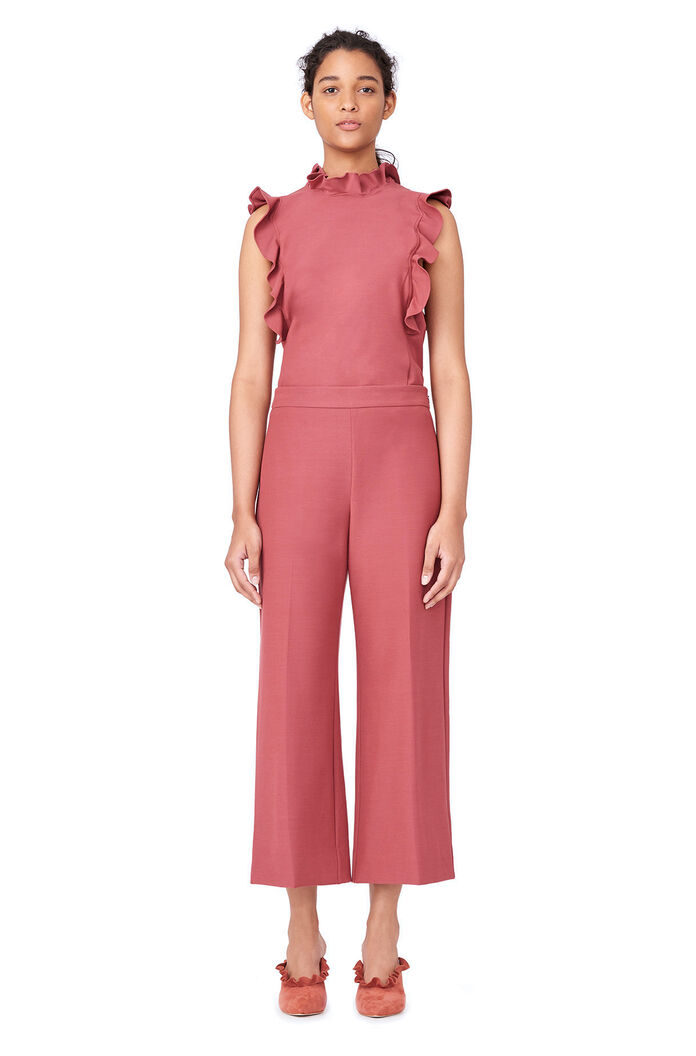 Stretch Suiting Wide Leg Crop Pant - Lipstick