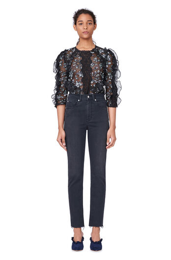 Moonflower Embroidered Top - Black Combo