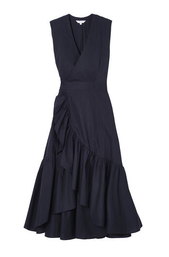 Sleeveless Poplin Wrap Dress