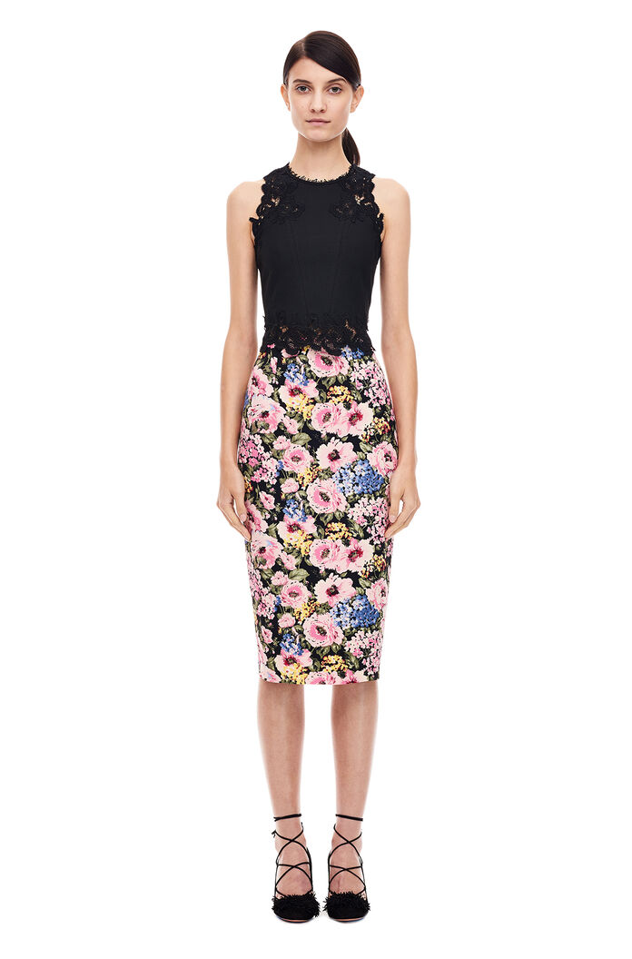 Lavinia Rose Pencil Skirt - Black/Camellia