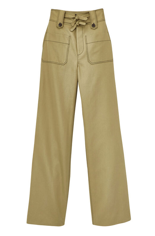 Belted Cotton Twill Trouser