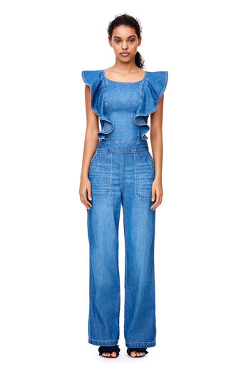La Vie Drapey Denim Jumpsuit - Riviera Wash