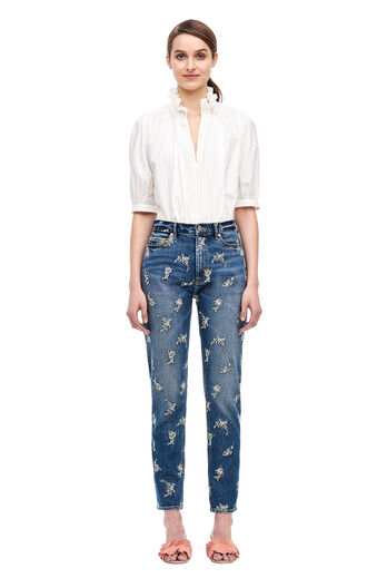 La Vie Embroidered Jean - Cobalt Wash