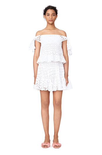 Off-The-Shoulder Amora Eyelet Top - Milk