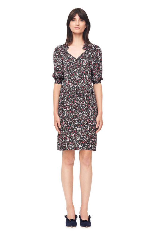 Lyra Floral Hammered Silk Dress - Black Combo