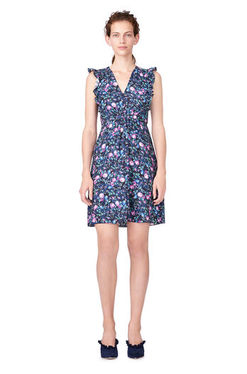 Ruby Floral Hammered Silk Dress - Dark Navy Combo