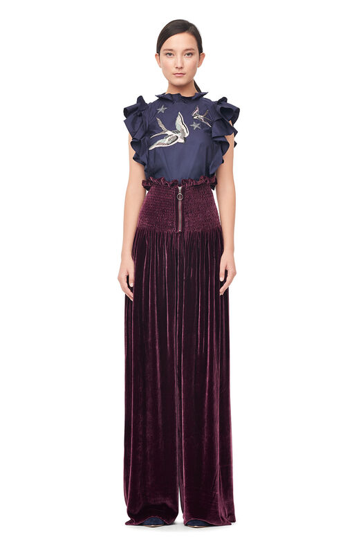 Smocked Velvet Wide Leg Pant - Plum