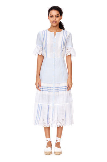 La Vie Variegated Stripe Dress - Blue Combo
