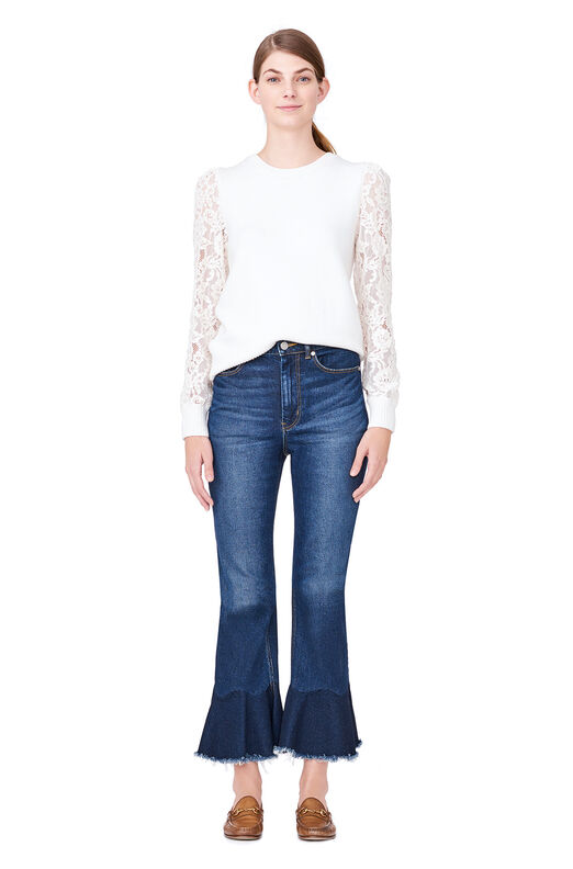 Lace Sleeve Pullover - Chalk/Chalk