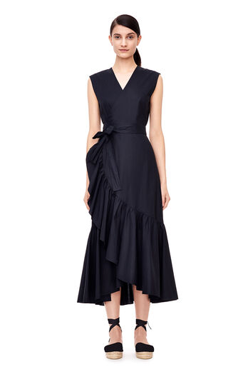 Sleeveless Poplin Wrap Dress - Black