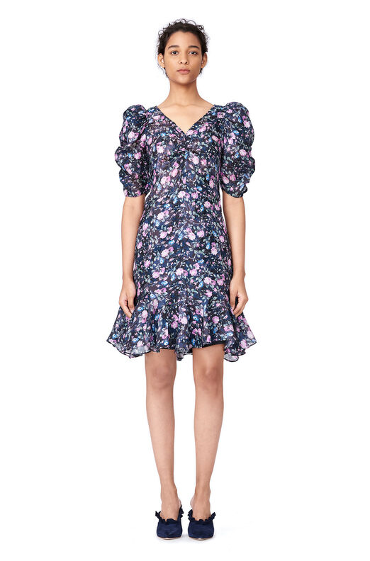 Ruby Floral Organza Dress - Dark Navy Combo
