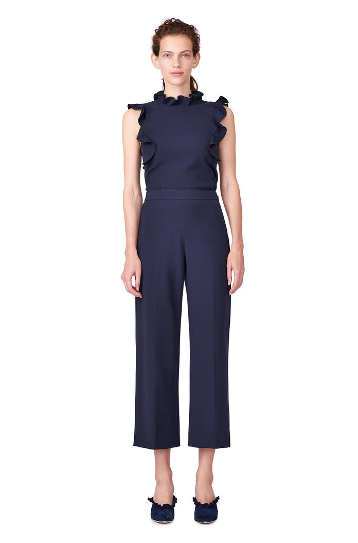 Stretch Suiting Ruffle Top - Dark Navy