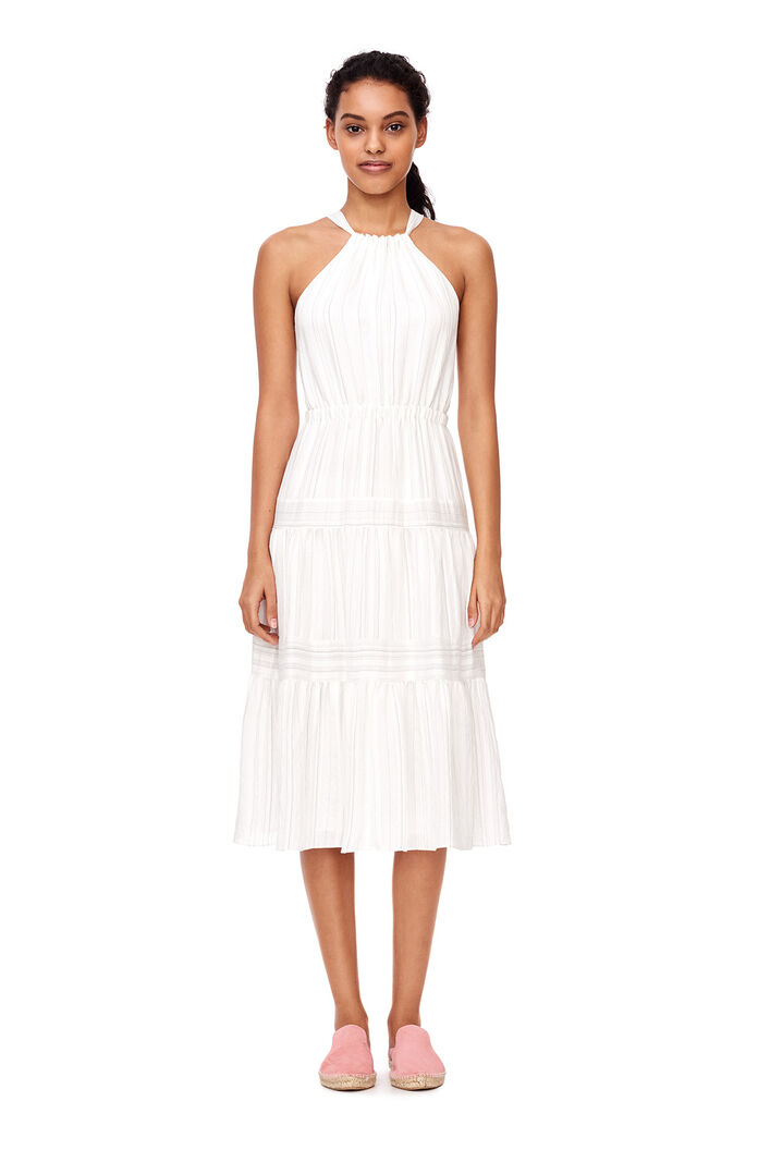 Sleeveless Yarn Dyed Stripe Dress - White Combo
