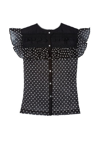Sleeveless Moon Dot Embroidery Top