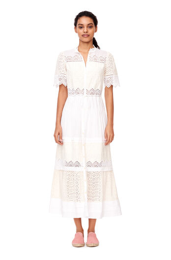 La Vie Embroidered Voile Dress - Milk